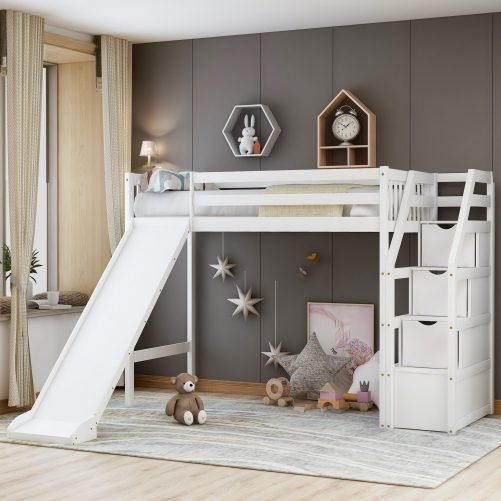 Twin size loft bed with storage and slide, white 4