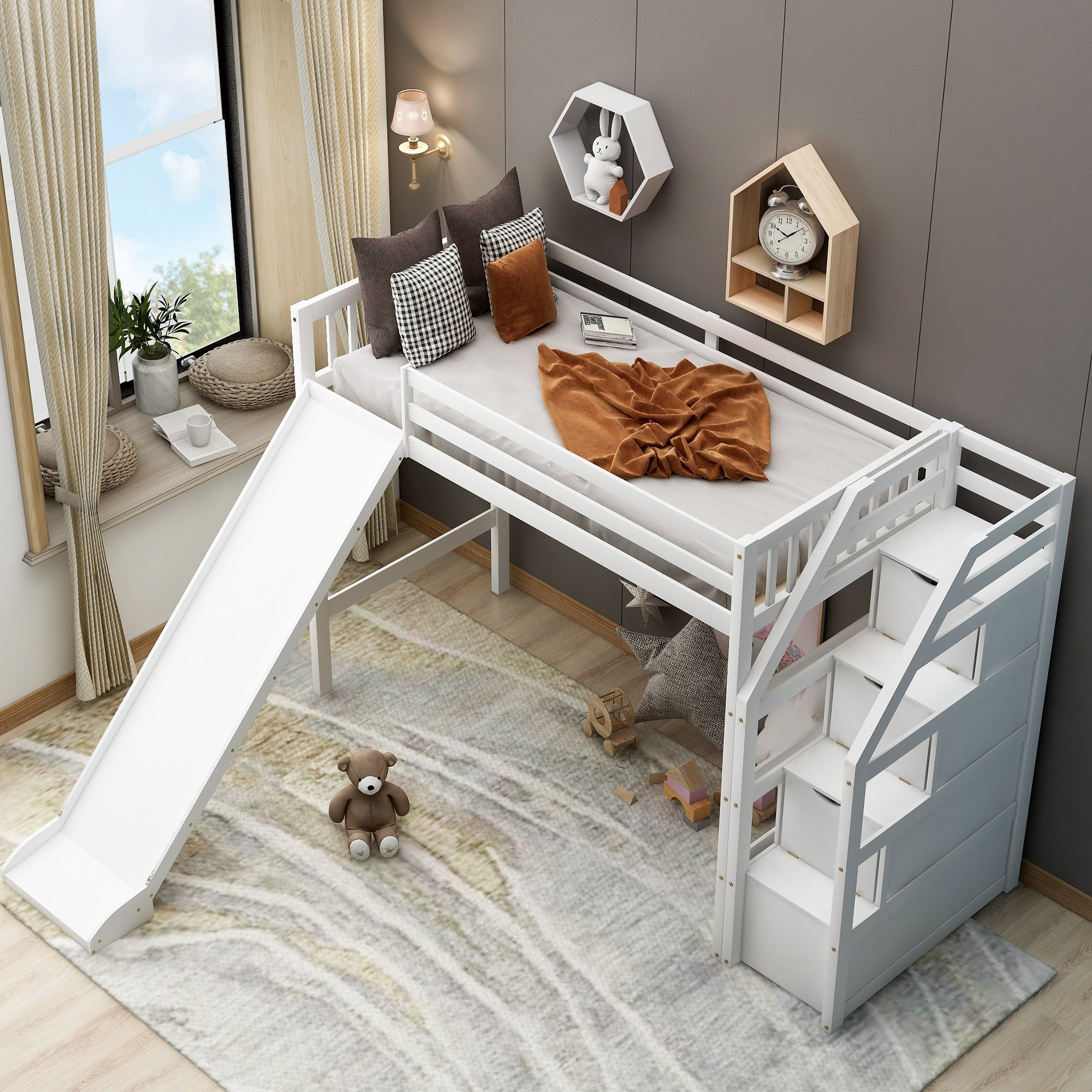 Twin size Loft Bed with Storage and Slide - Cool Toddler Beds