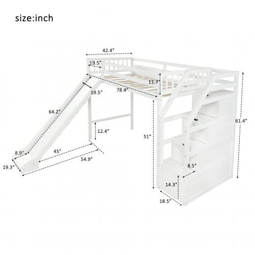 Twin size loft bed with storage and slide, white 10