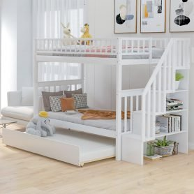 Twin over Twin Bunk Bed, with Trundle and Storage 7