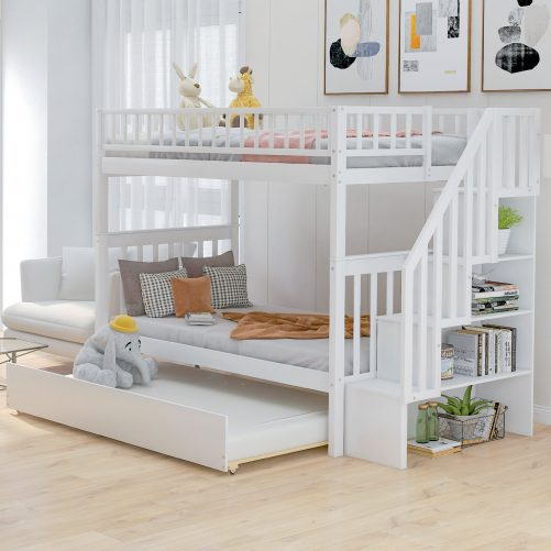 Twin over Twin Bunk Bed, with Trundle and Storage 1