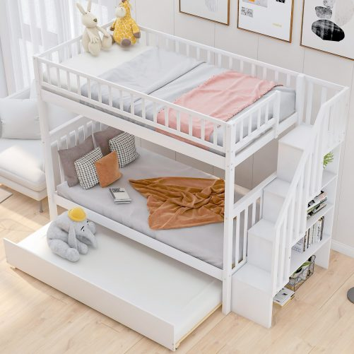 Twin over Twin Bunk Bed, with Trundle and Storage 2