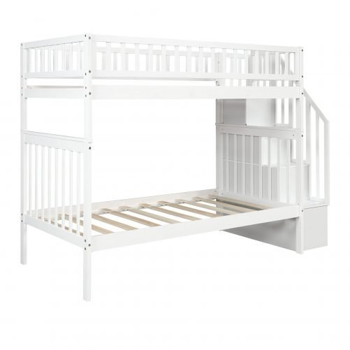 Twin over Twin Bunk Bed, with Trundle and Storage 18