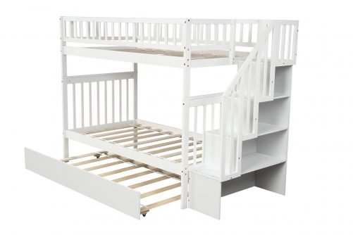Twin over Twin Bunk Bed, with Trundle and Storage 16