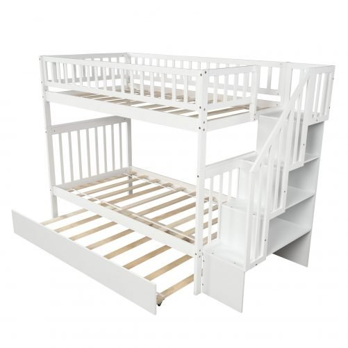 Twin over Twin Bunk Bed, with Trundle and Storage 14