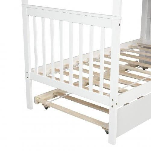 Twin over Twin Bunk Bed, with Trundle and Storage 10