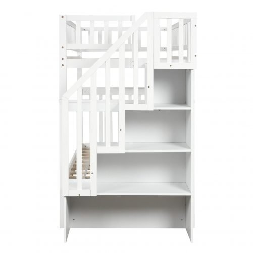 Twin over Twin Bunk Bed, with Trundle and Storage 8