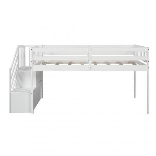 Twin over twin Floor Bunk Bed, Ladder with Storage 8
