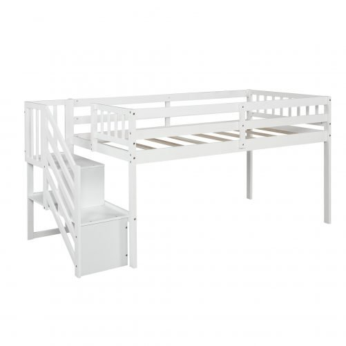 Twin over twin Floor Bunk Bed, Ladder with Storage 7