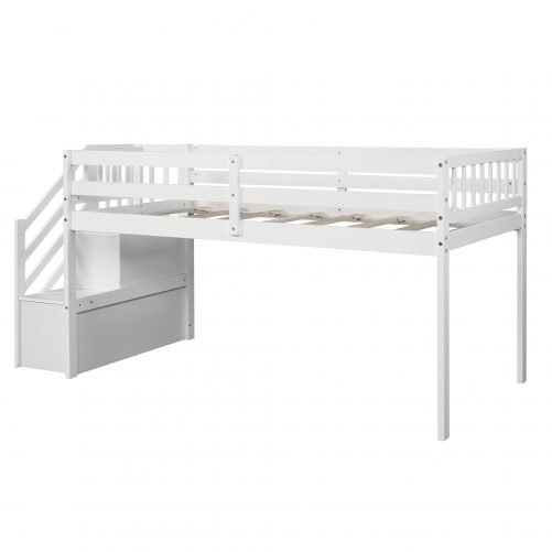 Twin over twin Floor Bunk Bed, Ladder with Storage 12