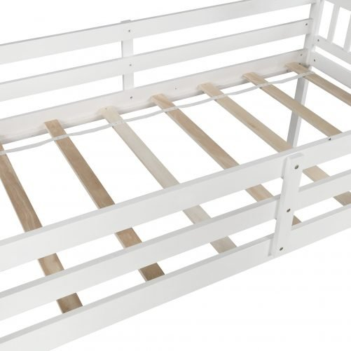 Twin over twin Floor Bunk Bed, Ladder with Storage 10