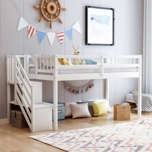Twin over twin Floor Bunk Bed, Ladder with Storage 2
