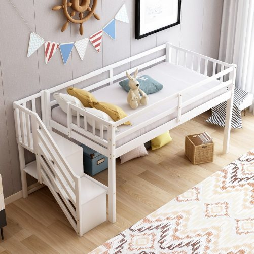Twin over twin Floor Bunk Bed, Ladder with Storage 4