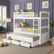 Twin over Twin Wood Bunk Bed with Trundle and Drawers 2