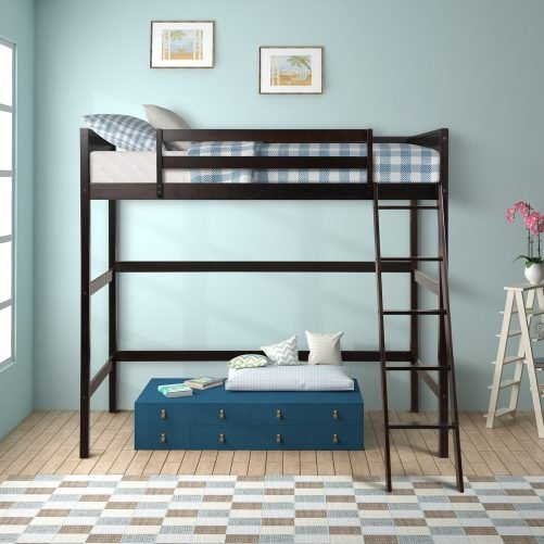 Solid Wood Twin Size Loft Bed Panel Style Loft Bed,Side Angled Ladder 8