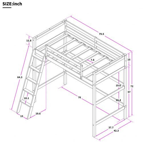 Solid Wood Twin Size Loft Bed Panel Style Loft Bed,Side Angled Ladder 9