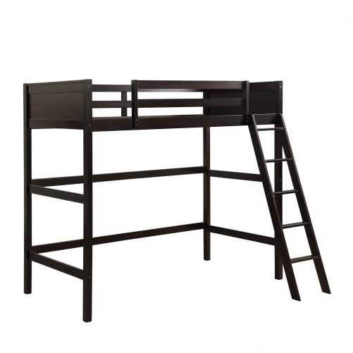 Solid Wood Twin Size Loft Bed Panel Style Loft Bed,Side Angled Ladder 10