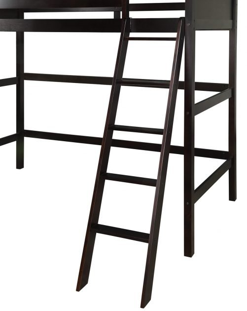 Solid Wood Twin Size Loft Bed Panel Style Loft Bed,Side Angled Ladder 11