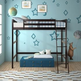 Solid Wood Twin Size Loft Bed Panel Style Loft Bed,Side Angled Ladder 1