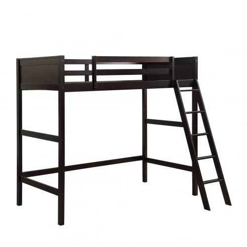Solid Wood Twin Size Loft Bed Panel Style Loft Bed,Side Angled Ladder 3