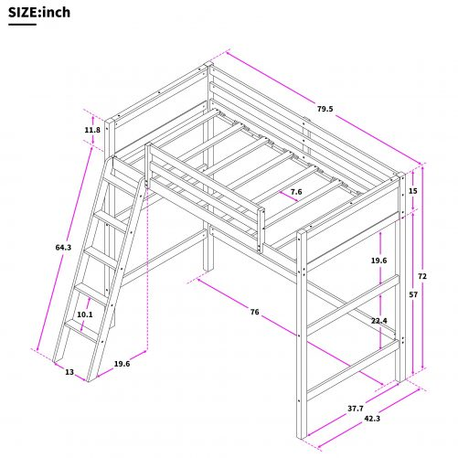 Solid Wood Twin Size Loft Bed Panel Style Loft Bed,Side Angled Ladder 4