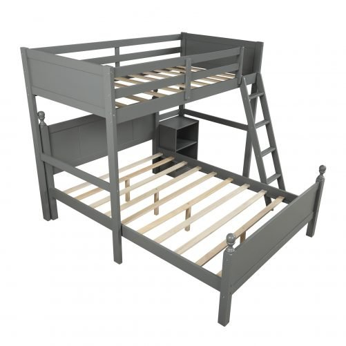 Twin over full loft bed with cabinet, gray
