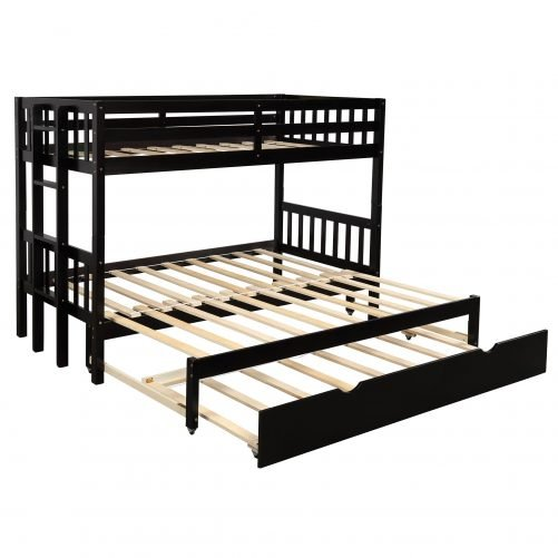 Twin over pull-out bunk bed with trundle, espresso