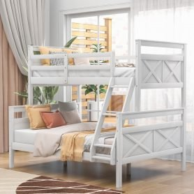 Twin Over Full Bunk Bed With Ladder, Guardrail