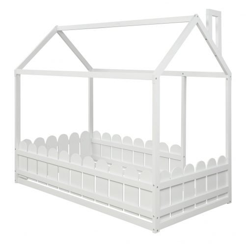 Slats are not included twin size wood bed house bed frame with fence, for kids, teens, girls, boys  white