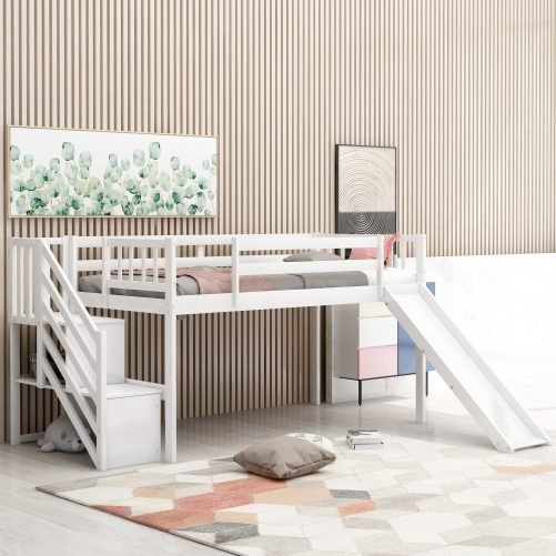 Twin Size Low Loft Bed With Adjustable Slide And Staircase