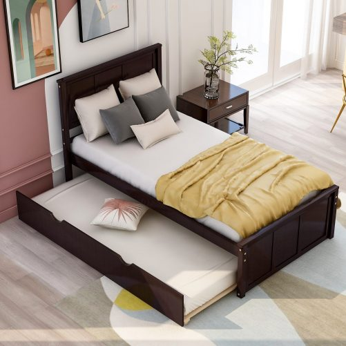 Platform Bed With Twin Size Trundle 4