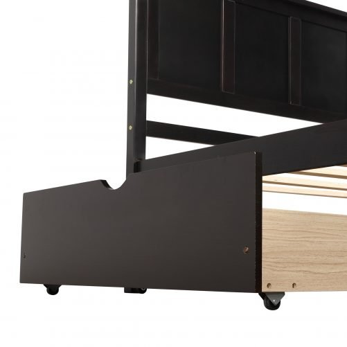 Platform Storage Bed, 2 Drawers With Wheels 12