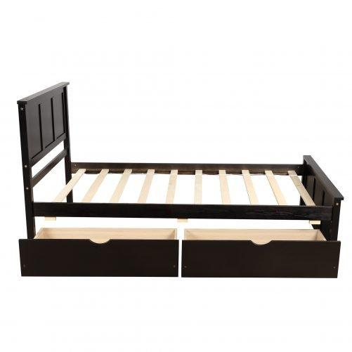 Platform Storage Bed, 2 Drawers With Wheels 6