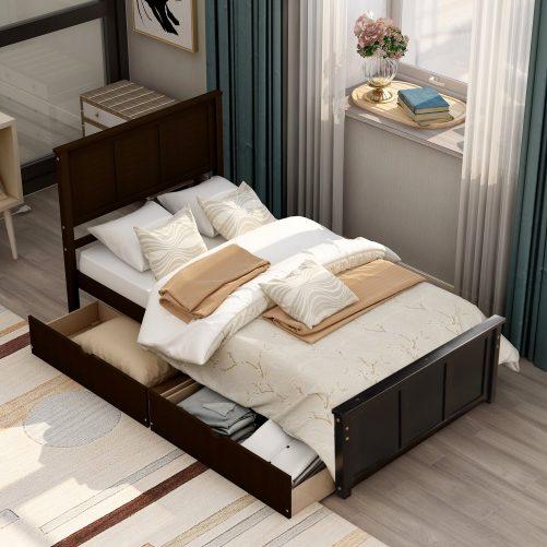 Platform Storage Bed, 2 Drawers With Wheels 2