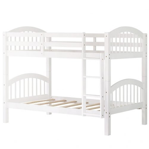 Solid Wood Twin Over Twin Bunk Bed With Ladder White