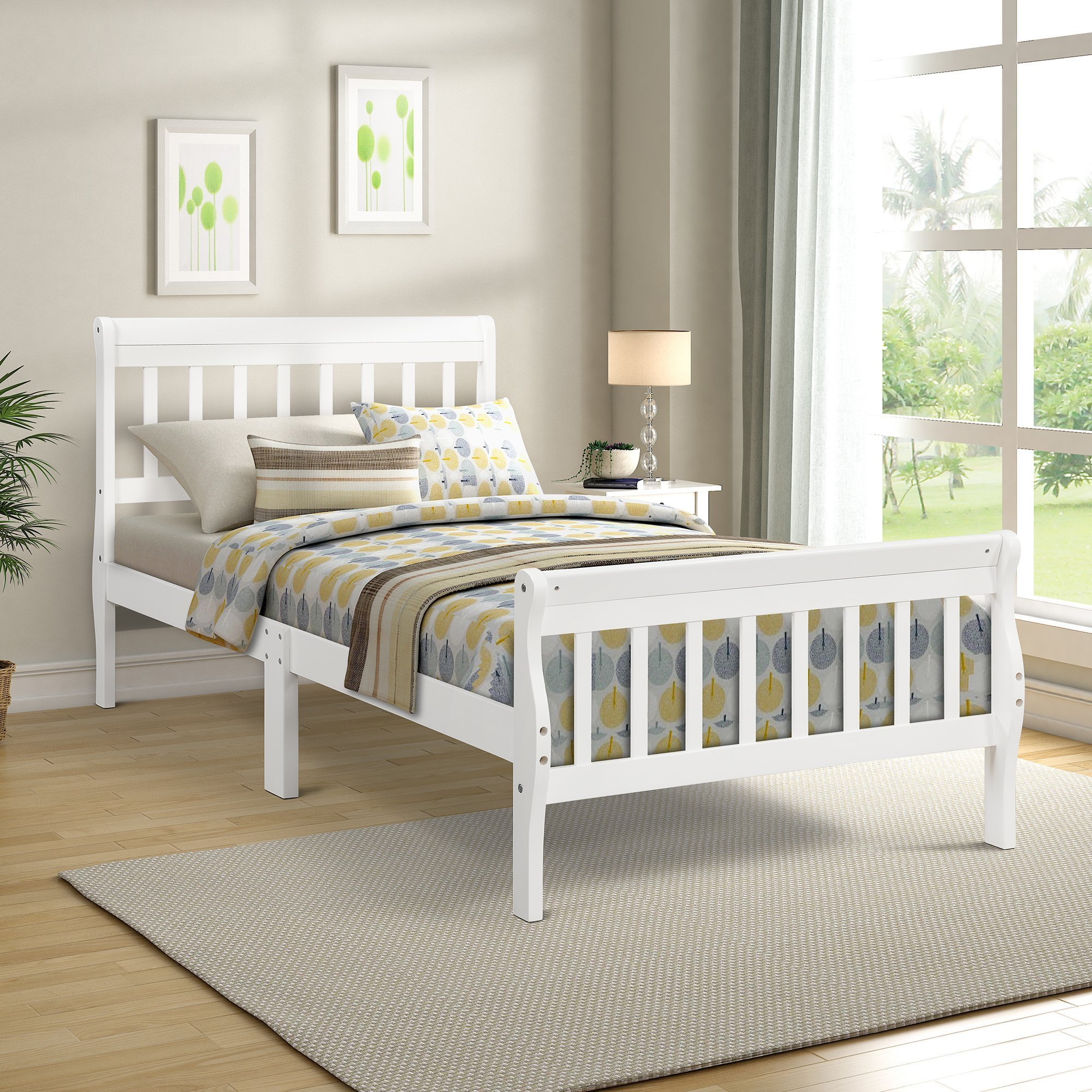 Wood Mattress Foundation Sleigh Bed Frame with Headboard ...