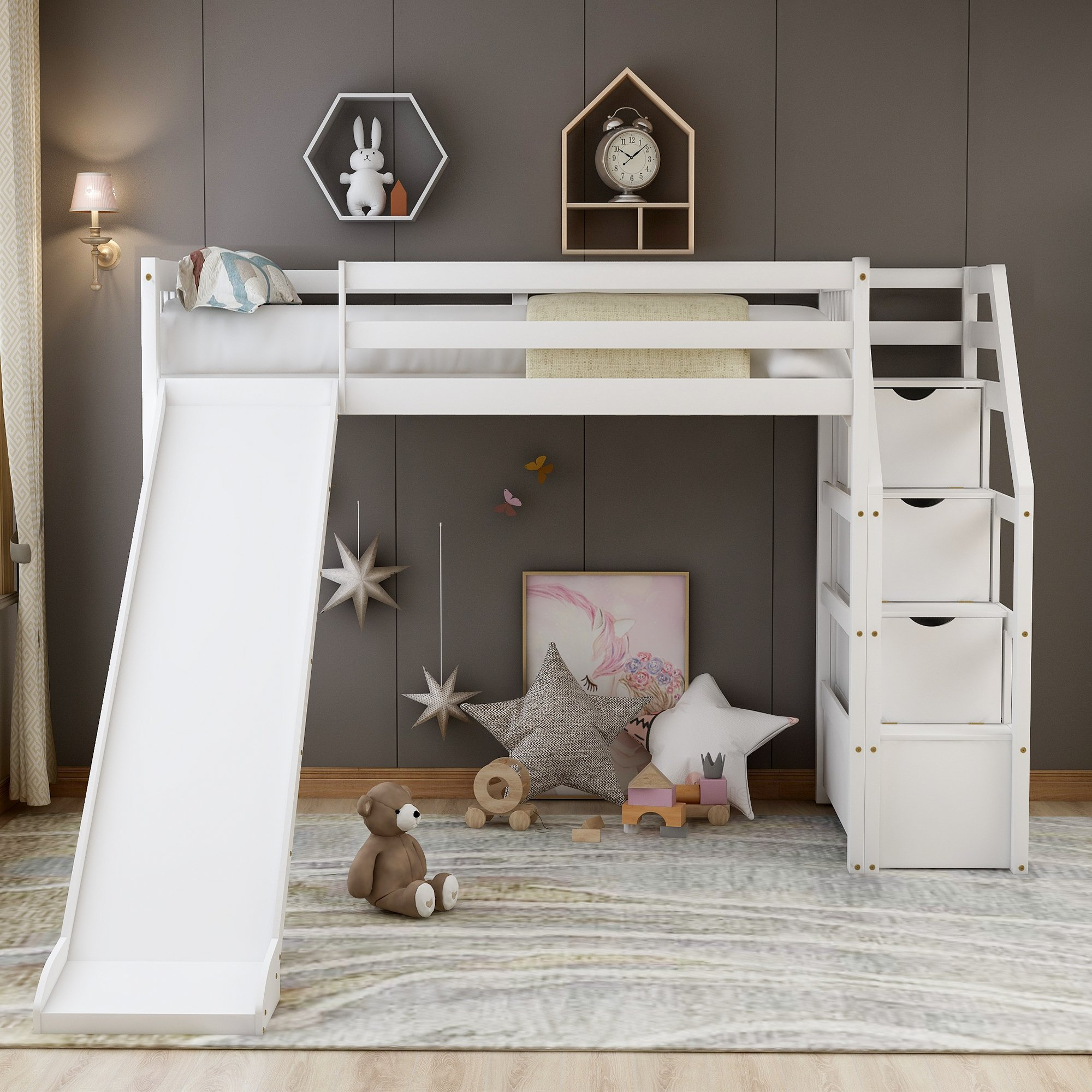 Twin Size Loft Bed With Storage And Slide, White New