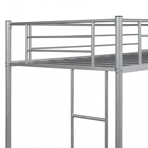 Twin Loft Bed With Sturdy Steel Frame, Guard Rail, Two-side Ladders 14