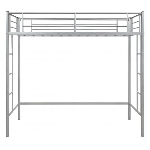 Twin Loft Bed With Sturdy Steel Frame, Guard Rail, Two-side Ladders 12