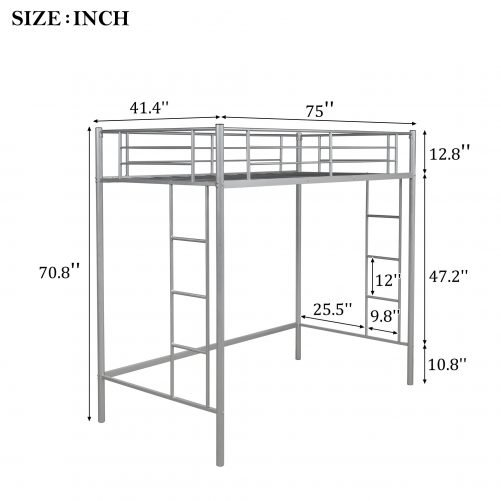 Twin Loft Bed With Sturdy Steel Frame, Guard Rail, Two-side Ladders 8