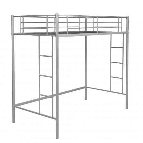 Twin Loft Bed With Sturdy Steel Frame, Guard Rail, Two-side Ladders 10