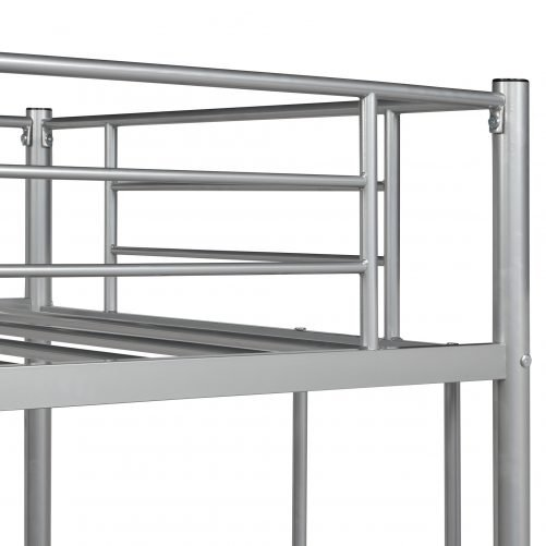 Twin Loft Bed With Sturdy Steel Frame, Guard Rail, Two-side Ladders 16