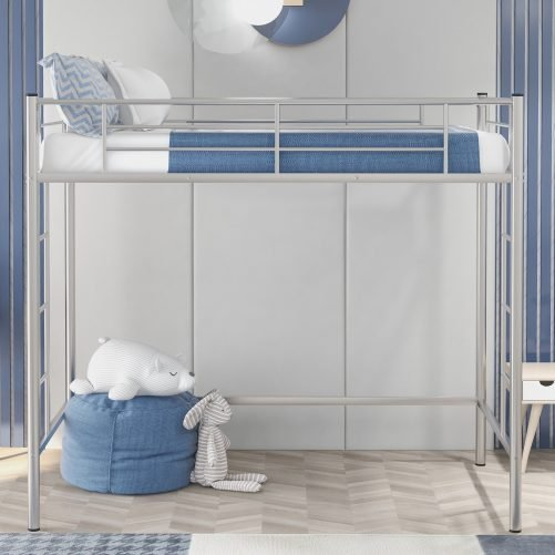Twin Loft Bed With Sturdy Steel Frame, Guard Rail, Two-side Ladders 6