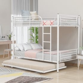 Twin-over-twin Metal Bunk Bed With Trundle,Can be Divided into two beds
