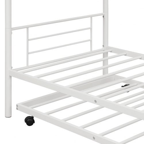 Twin-over-twin Metal Bunk Bed With Trundle,can Be Divided Into Two Beds,no Box Spring Needed ,white
