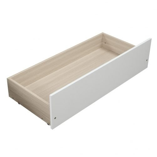 Twin Platform Storage Bed Wood Bed Frame With Two Drawers And Headboard, White