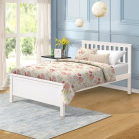 Wood Platform Bed with Headboard/Footboard/Wood Slat Support/No Box Spring Needed Twin