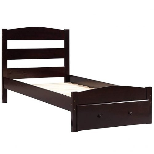 Wood Platform Twin Bed Frame with Storage Drawer and Wood Slat Support No Boxspring