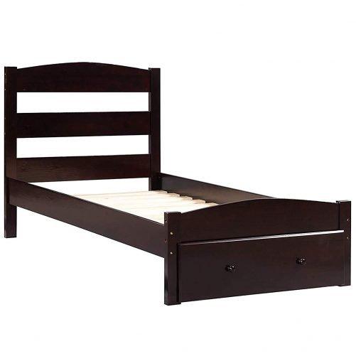 Merax. Wf186776 Platform Twin Bed Wood Frame With Storage/headboard/wooden Slat Support Espresso