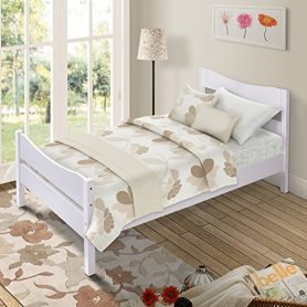 Merax Wood Platform Bed Panel Bed Mattress Foundation Wooden Slat Support Twin Sizewhite